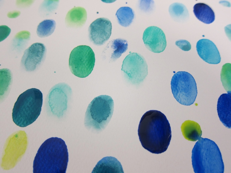 Fingerprints with watercolor paint