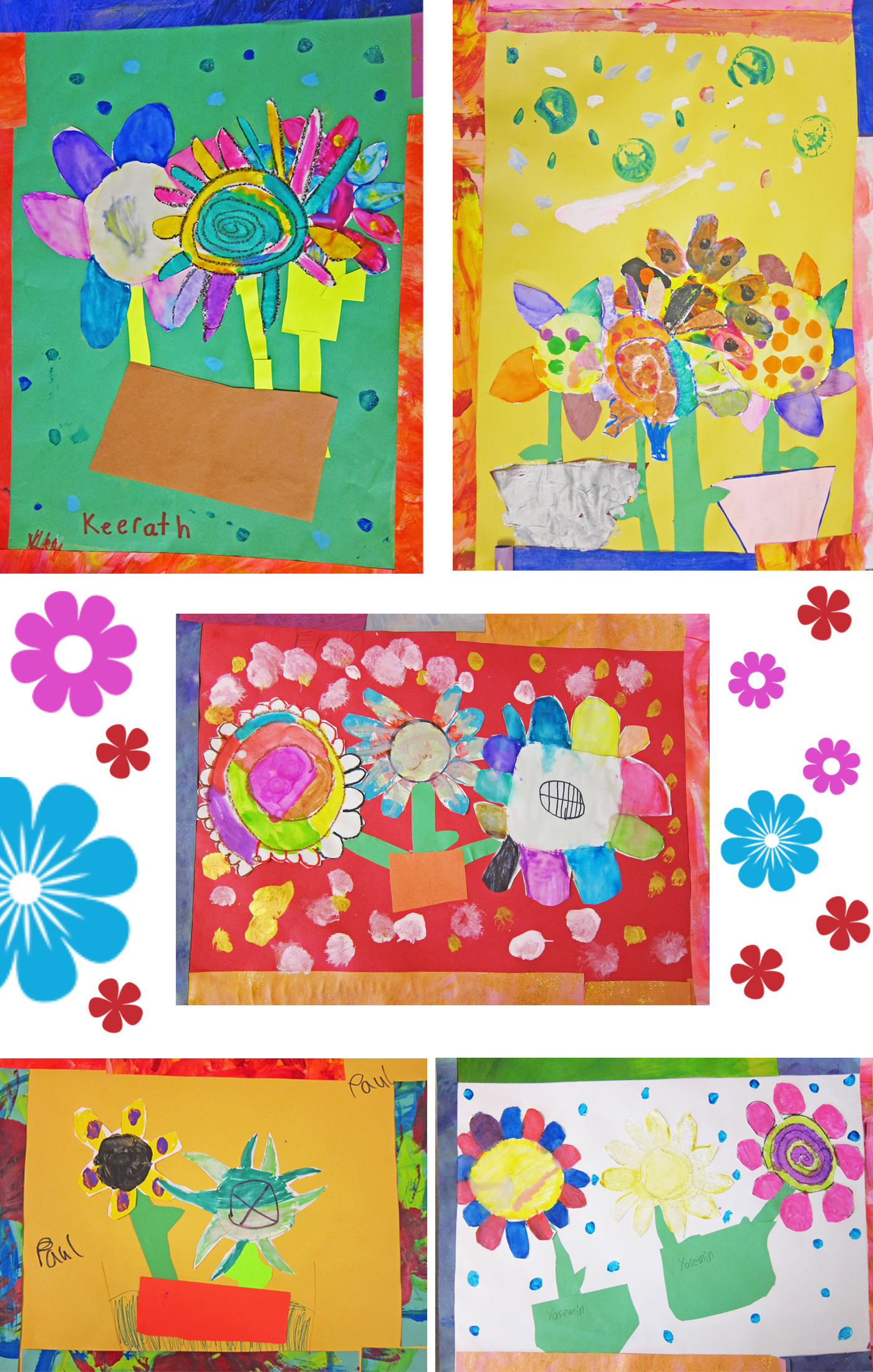 Flower Paintings By First Grade Learn About Van Gogh And