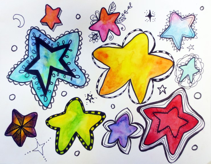 Doodled and Painted Stars