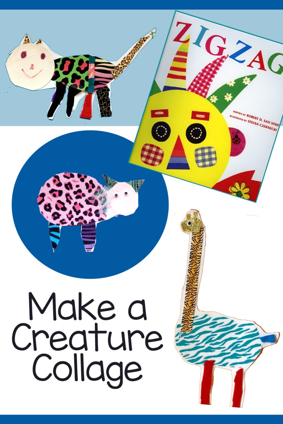 make your own creature with fabric and paper scraps art is basic