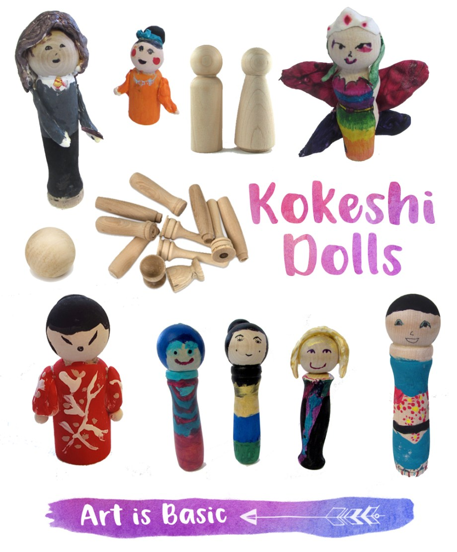 Kokeshi Dolls from wood pegs