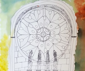 Notre Dame Watercolor and Ink Drawings