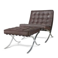 Barcelona Style Premium Lounge Chair and Ottoman Brown ...