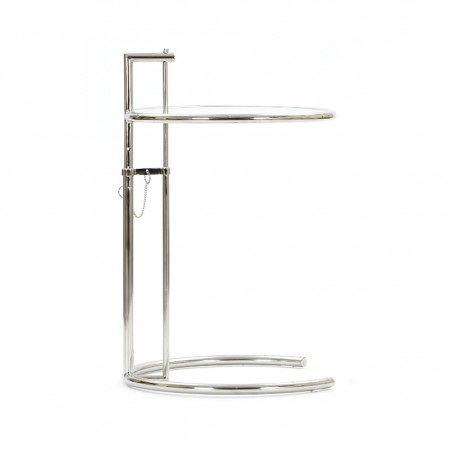 Eileen Gray Style Adjustable Glass Table E1027 Stainless