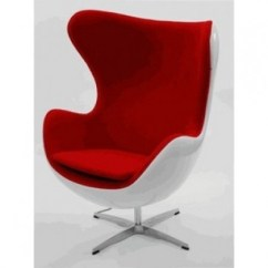 Mid Century Egg Chair Baby Support Artis Decor Premium Cashmere Wool With White Shell Red