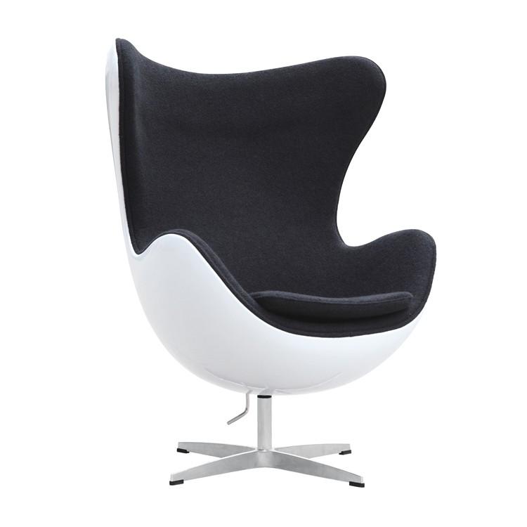 mid century egg chair swivel dublin artis decor premium cashmere wool with white shell black