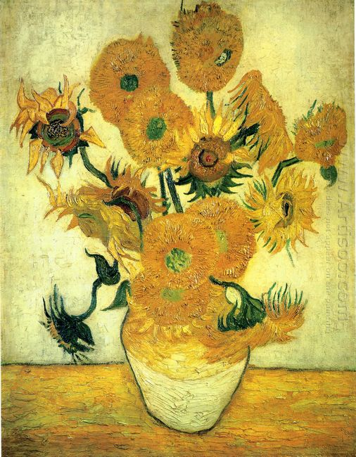 Still Life Vase With Fourteen Sunflowers 1889