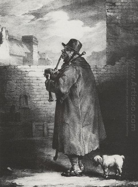 Il suonatore di cornamusa  Dipinti ad olio