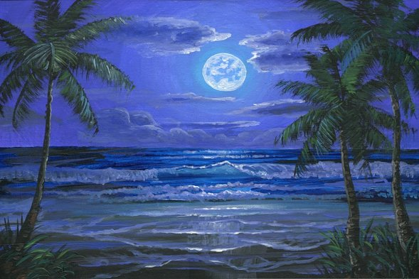 DVD 86 How To Paint A Tropical Beach In The Moonlight
