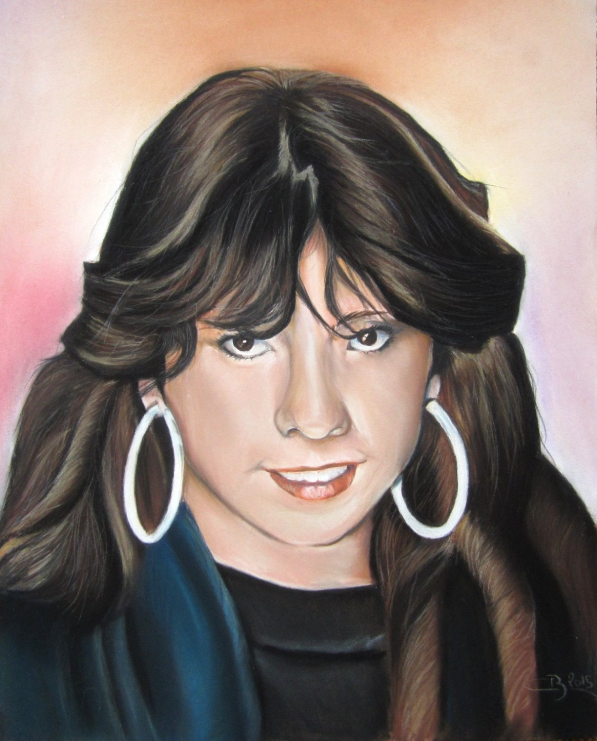portrait jeune fille pastel