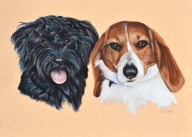 tableau chiens pastel