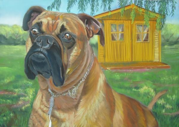 tableau chien boxer
