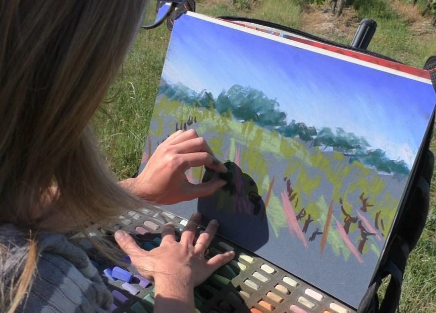 paysage au pastel sec
