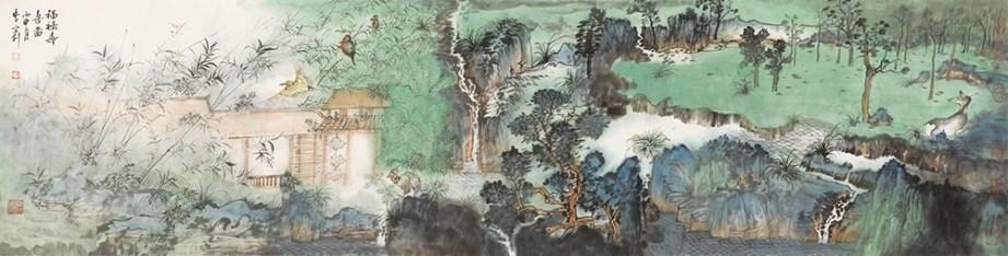 FU LU SHOU XI, CHINESE INK PAINTING, H45CM X L136CM