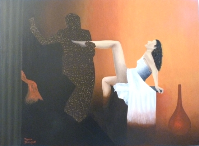 BLANQUET Pierre-La belle et la bête-Huile-100 x81 cm