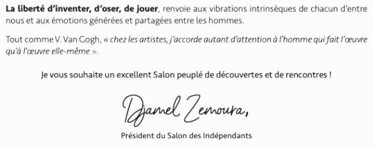 Signature Président Djamel ZEMOURA Le Salon des Artistes Indépendants Dossier de presse