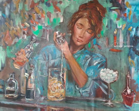 Femme derrière son bar - Marie-France Krähenbühl