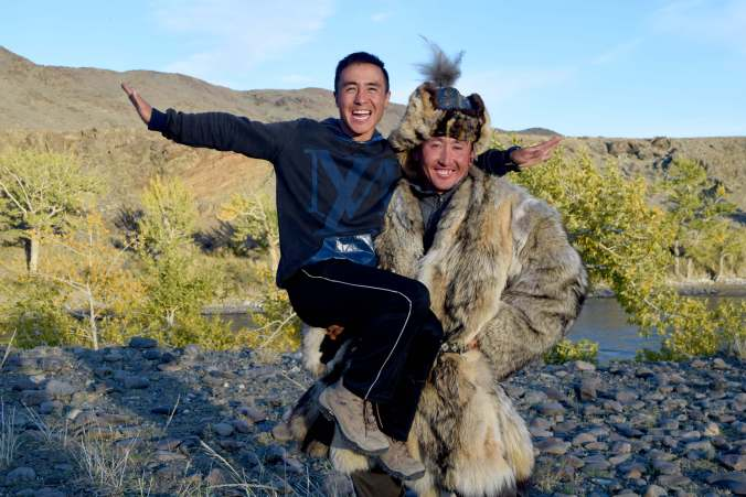 Nurbie our guide and Botei the Eagle Hunter