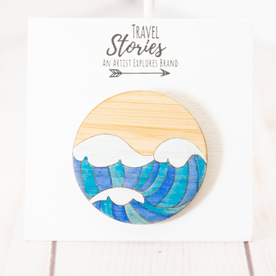 Three Waves Laser cut bamboo Ocean Pin Front