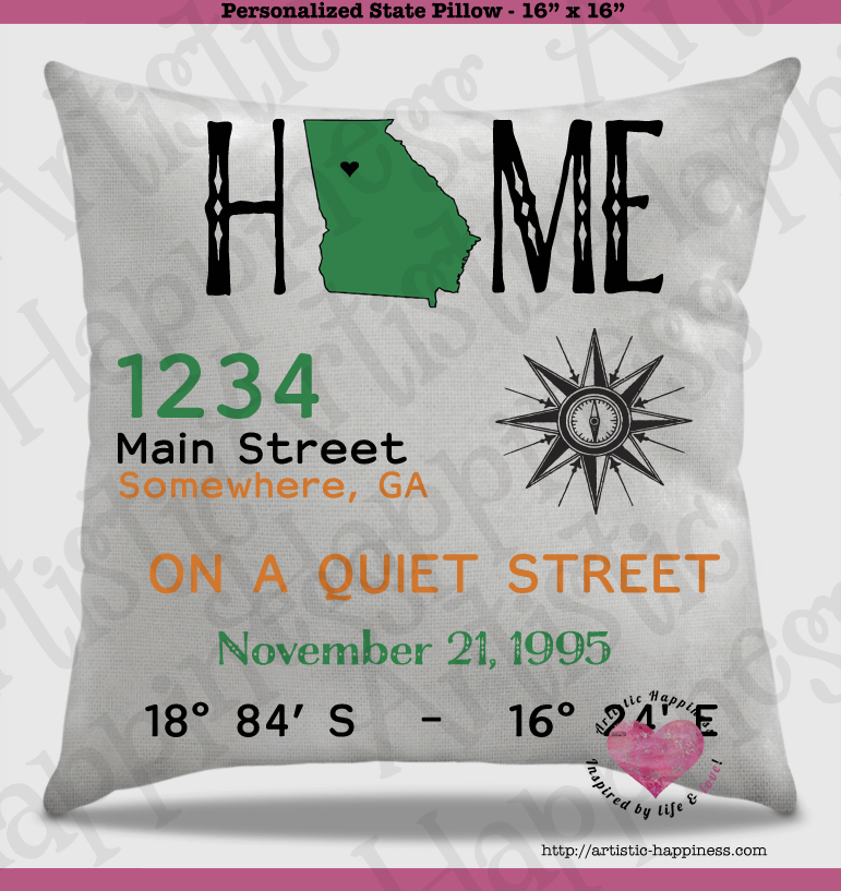 personalized state pillow and