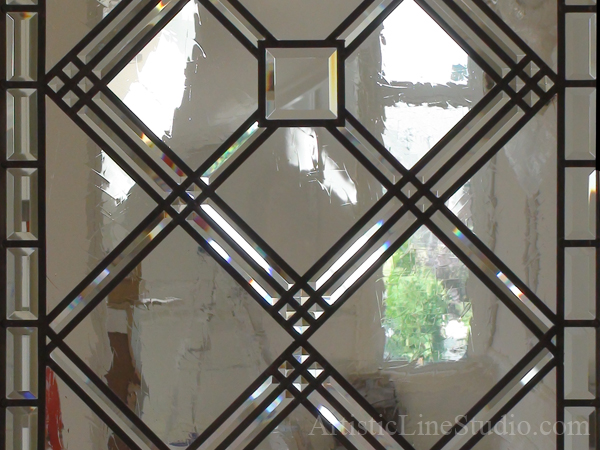 Classic Stained Leaded Glass Office Doorlight Insert