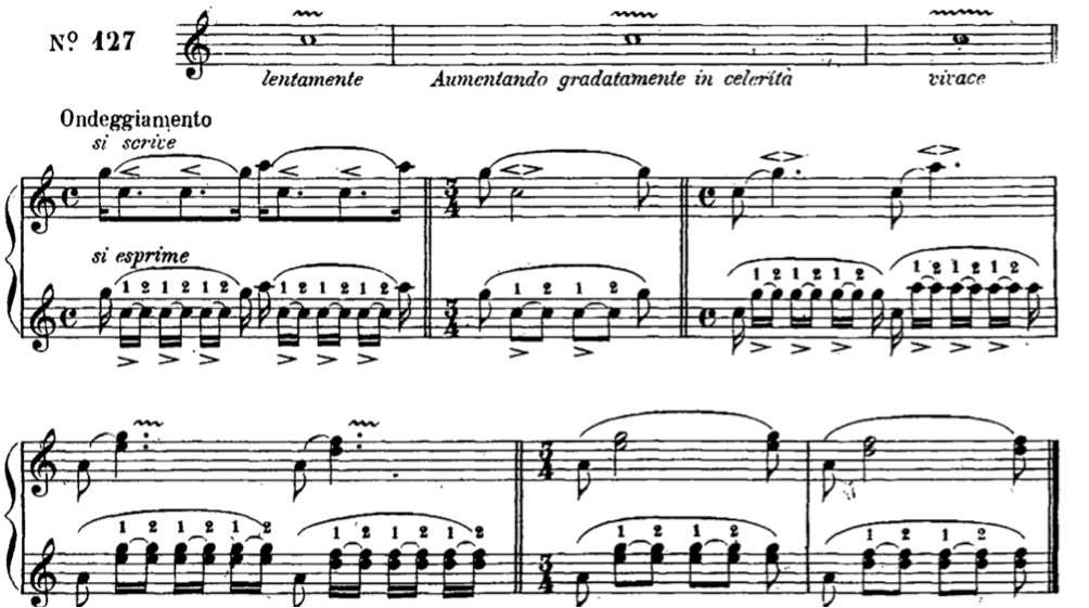 Campagnoli, Bartolomeo, Metodo per Violino Op. 21. Milano: Tito di G.Ricordi, 1853. Pg. 70 esercizio No. 127.