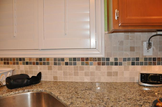 prefab granite kitchen countertops glad tall drawstring trash bags golden butterfly with mosaictile backsplash ...