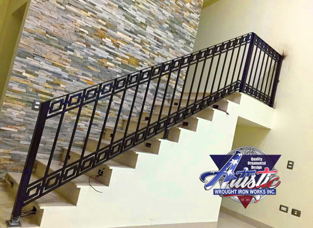 Interior Iron Modern Diamond Hand Stair Railing Artistic Wrought | Interior Iron Stair Railing | Minimalist Simple Stair | Fancy | Staircase | Residential | Stair Outside