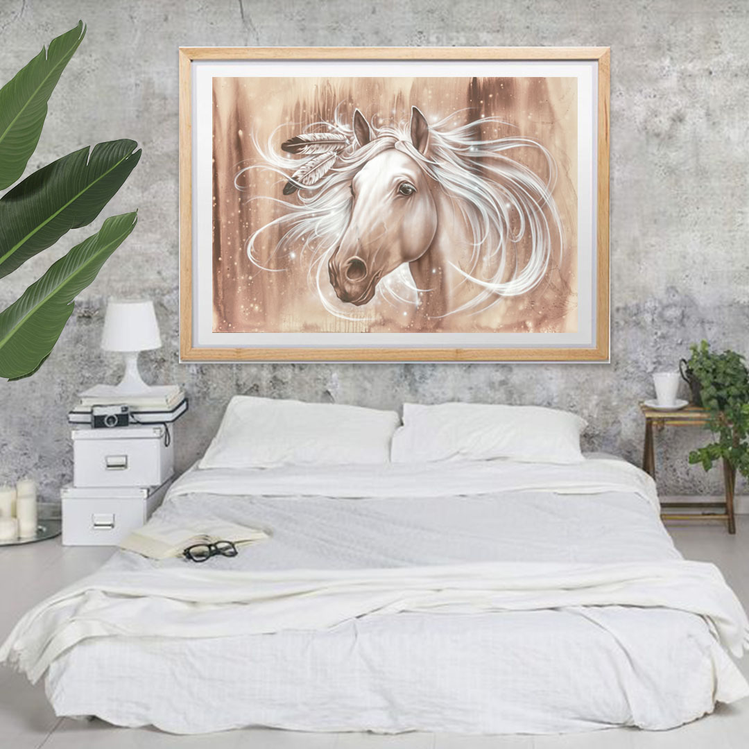 horse with feathers print