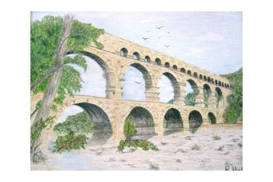 "Double Bridge, Provencal, France 8""x 10"""