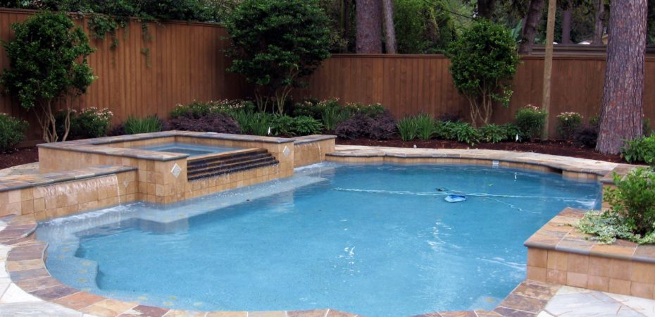 Grecian Style Geometric Pool Design with Spa