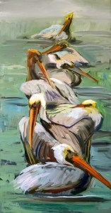 "Seven Buddies 48"" x 24"" Oil on Linen 1.5"" deep gallery wrap"