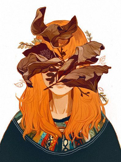 Sachin Teng portrait drawing painting of a female with leaves covering her face
