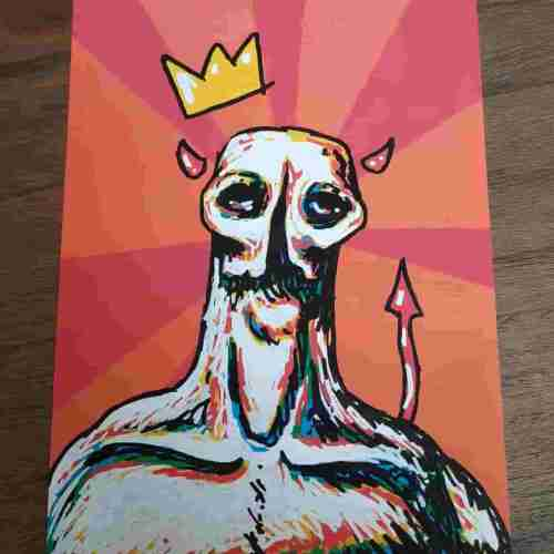 Flint brogan painting of a colorful devil with a crown