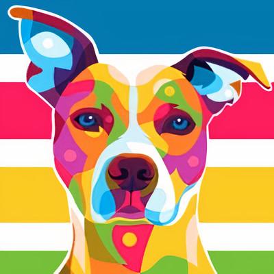 wpap and pop art pitbull colorful dog