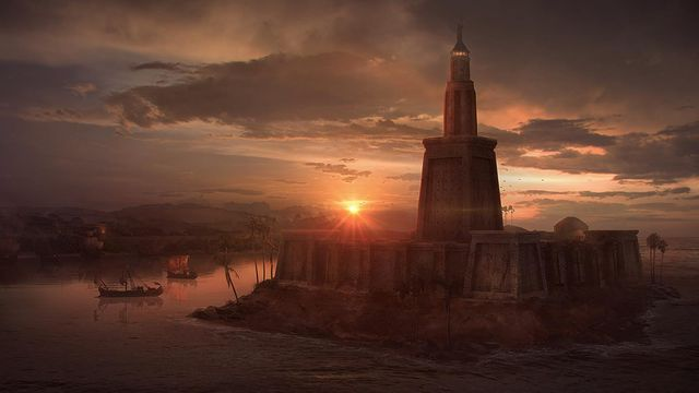 Santa Norvaisaite Lighthouse of alexandria concept art and illustration
