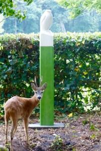 Giervalk van Jaap Deelder en bezoekende Reebok in de tuin in Bruinehaar