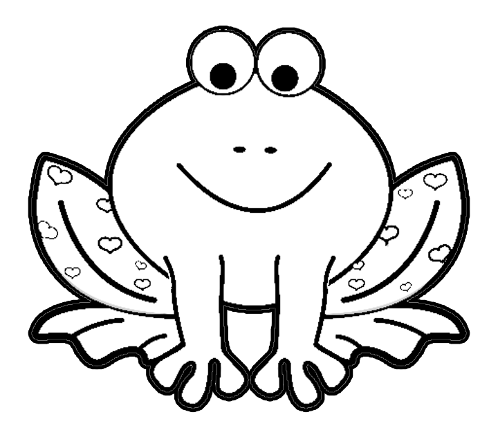 Valentine's Day Cartoon Frog with Hearts Coloring Page