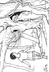 Greek Children Playing in the Woods Coloring Page