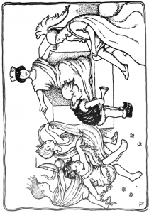 Greek or Roman Children Playing King and Dancing Coloring
