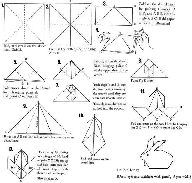 Origami Bunny Rabbits : How to Fold Origami Bunnies