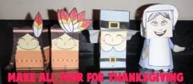 Papercraft de imprimible y recortable de los indios y peregrinos de Acción de Gracias / Thanksgiving. Manualidades a Raudales.