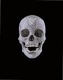 This work is made with a real human skull that has diamonds glued to it.