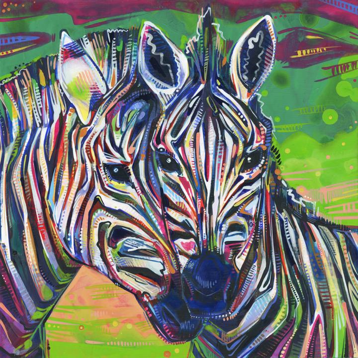 Uniform (Zebra) 2012 acrylic on panel 10 x 10 inches