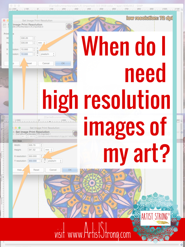 Use this step by step tutorial to help you convert images of your art to low resolution to protect your images online, or high resolution images for making prints of your art! #GIMP #arttips #photographyourart #artiststrong #freeartresources