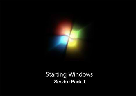 Windows 7 Service Pack 1 Boot screen