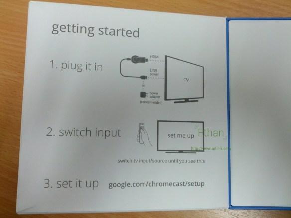 ด้านในของฝากล่องใน Chromecast มีวิธีติดตั้งเขียนไว้