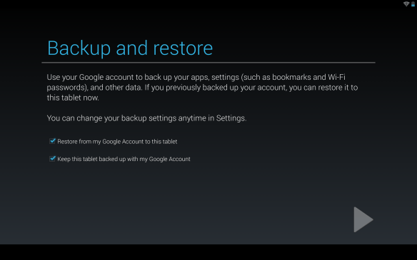 Nexus 10 Backup & restore