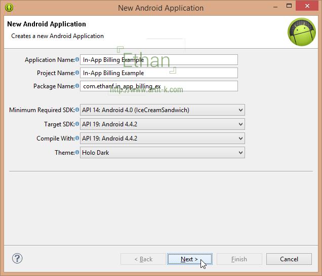 กำหนดชื่อ App ชื่อ Project และชื่อ Package ตามต้องการ