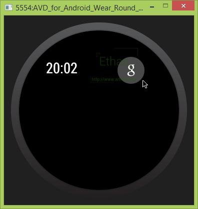 Android Wear บน Emulator เมื่อเชื่อมต่อกับ Android Wear Preview แล้ว